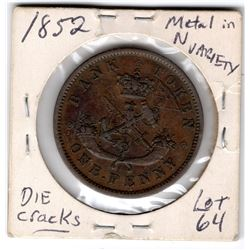 1852 BANK OF UPPER CANADA TOKEN ONE CENT ST. GEORGE AND THE DRAGON DIE CRACKS