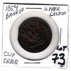 1854 BANK OF UPPER CANADA HALF PENNY TOKEN DRAGON SLAYER CLIP ERROR