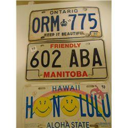 ONTARIO, MANITOBA, HAWAII NOVELTY LICENCE PLATE