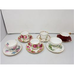 6 cups & saucers, 2 Royal Albert