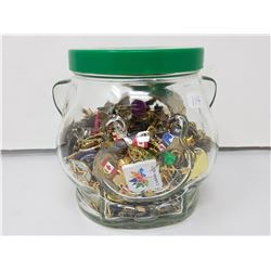 Kraft jar of lapel pins
