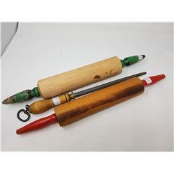 2 wooden rolling pins & butcher steel
