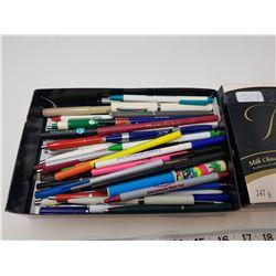 lot of ballpoint pens