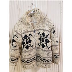 Cowichon sweater, approx size Large, measures 21 inches laid flat from armpit to armpit and 28 inche