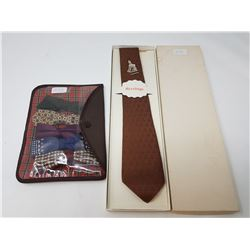 vintage silk tie in box & bowties