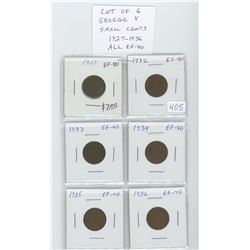 Lot of 6 nice George V small cents: 1927, 1932, 1933, 1934, 1935, 1936. All graded EF-40.