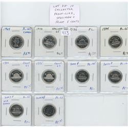 Lot of 10 Collector Proof Like, Specimen and Proof 5 cents: 1964 PL-64 Cameo; 1978 Specimen-65; 1986