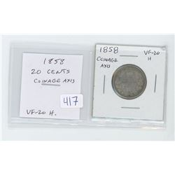 1858 Coinage Axis 20 cents VF-20 holed for suspension. Canada's only 20 cents coin.
