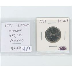 1991 25 cents MS-63. Mintage of 459,000. scarce.