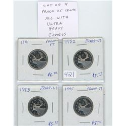 Lot of 4 Proof 25 cents: 1981, 1982, 1993, 1995. All Proof-67 with Ultra Heavy Cameos.