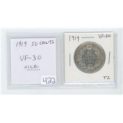 1919 50 cents VF-30. nice.