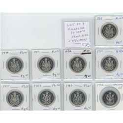 Lot of 9 Collector Proof Like and Specimen 50 cents: 1969 PL-63; 1970 PL-65; 1971 PL-65; 1972 Specim