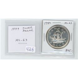 1949 silver dollar MS-63. Depicts John Cabot's voyage to Newfoundland with his ship Matthew. Celebra