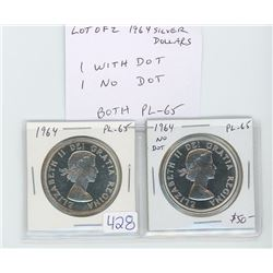 Lot of 2 different Proof Like 1964 silver dollars: 1964 PL-65; 1964 Missing Dot PL-65.