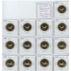 Lot of 13 Proof loonies: 1987, 1988, 1989, 1990, 1991, 1992, 1993, 1994, 1995, 1996, 1997, 1998, 199