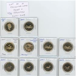 Lot of 10 Collector Proof and Specimen loonies: 2000 PF-67; 2001 PF-67; 2002 Centre Ice Loon PF-67;