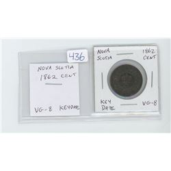 Nova Scotia 1862 cent VG-8. Key Date.