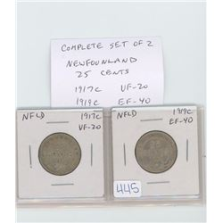 Complete set of 2 Newfoundland 25 cents: 1917c VF-20; 1919c EF-40