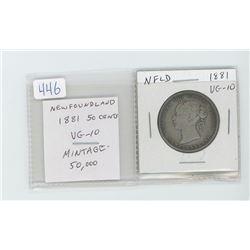 Newfoundland 1881 50 cents VG-10. Mintage of 50,000