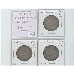 Lot of 3 Newfoundland 50 cents: 1917c VG-8; 1918c VG-8; 1919c F-15