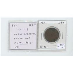 Prince Edward Island pre-Confederation token. 1857 half cent. PE-7C1. Large Quadrefoil, Large AND; M
