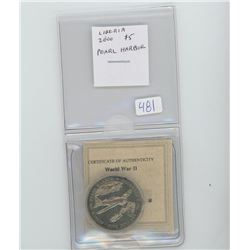 Liberia 2000 $5 coin commemorating the Japanese attack on Pearl Harbor. Unc.