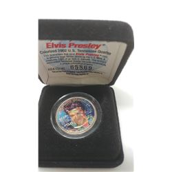Colourized Elvis Pressley 2002 U.S. Tennessee quarter in case.
