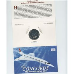 2003 Solomon Islands 2003 $5 Concorde, the world's first supersonic passenger aircraft.