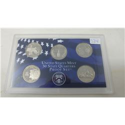 Proof set of 5 U.S. State quarters from the San Francisco Mint: 2000S Massachusetts, Maryland, South