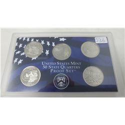 Proof set of 5 U.S. State quarters from the San Francisco Mint: 2002S Tennessee, Ohio, Louisiana, In