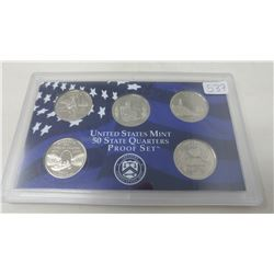 Proof set of 5 U.S. State quarters from the San Francisco Mint: 2003S Illinois, Alabama Maine, Misso