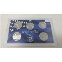 Proof set of 5 U.S. State quarters from the San Francisco Mint: 2004S Michigan, Florida, Texas, Iowa