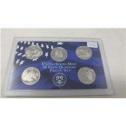 Proof set of 5 U.S. State quarters from the San Francisco Mint: 2008S Oklahoma, New Mexico, Arizona,