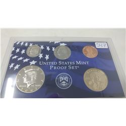 2002S Proof set of 5 U.S. coins from 1 cent to Sacagawea dollar from the San Francisco Mint.