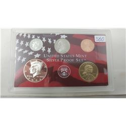2002S Silver Proof set of 5 U.S. San Francisco Mint coins form 1 cent to Sacagawea dollar.