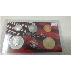 2007S Silver Proof set of 5 U.S. San Francisco Mint coins from 1 cent to Sacagawea dollar.