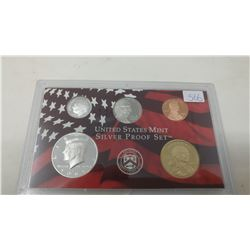 2008S Silver Proof set of 5 U.S. San Francisco Mint coins from 1 cent to Sacagawea dollar.