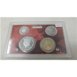 2009S Silver Proof set of 4 U.S. San Francisco Mint coins form 5 cents to Sacagawea dollar.