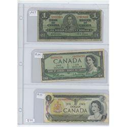 1937,1954,1973 CANADIAN ONE DOLLAR BILLS