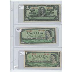 1937,1954,1967 CANADIAN ONE DOLLAR BILLS