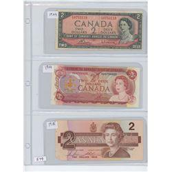 1954,1974,1986 CANADIAN TWO DOLLAR BILLS