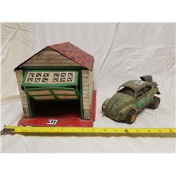 TIN GARAGE WITH VW TIN CAR (MADE IN CANADA, EAGLE TOYS LTD.)
