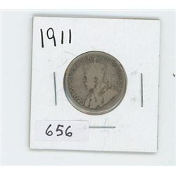 1911 CANADIAN 25 CENT