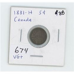 1881H CANADIAN 5 CENT