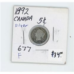 1892 CANADIAN 5 CENT