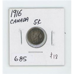 1916 CANADIAN 5 CENT