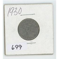 1930 CANADIAN 5 CENT