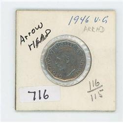 1946ARROWHEAD CANADIAN 5 CENT