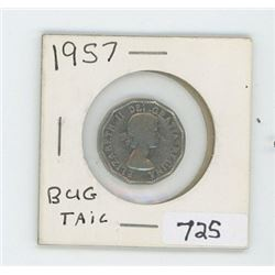 1957BUGTAIL CANADIAN 5 CENT