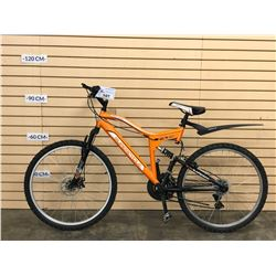 ORANGE SUPERCYCLE ASCENT FULL SUSPENSION MOUNTAIN BIKE WITH FRONT DISC BRAKES